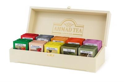 """""""Коллекция Ahmad Tea"""", в шкатулке из дерева, пакетики в конвертах из фольги, 100 пакетиков (10 вкусов по 10 пакетиков) - фото 4509"""