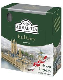 """Чай """"Ahmad Tea"""" Эрл Грей, чёрный, в пакетиках в конвертах из фольги, 100х2г + ложка в подарок - фото 6025"""