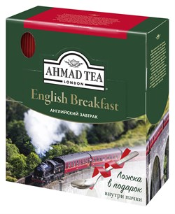 """Чай """"Ahmad Tea"""" Английский завтрак, чёрный, в пакетиках с ярлычками в конвертах из фольги,100х2г + ложка в подарок - фото 6029"""