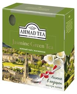 """Чай """"Ahmad Tea"""" Зелёный чай с жасмином, в пакетиках с ярлычками в конвертах из фольги,100х2г + ложка в подарок - фото 6033"""