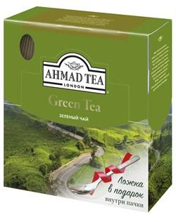 """Чай """"Ahmad Tea"""" Зелёный чай, в пакетиках с ярлычками в конвертах из фольги,100х2г + ложка в подарок - фото 6037"""