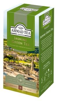 """Чай """"Ahmad Tea"""" Зелёный чай с жасмином, в пакетиках с ярлычками в конвертах из фольги, 25х2г - фото 6279"""