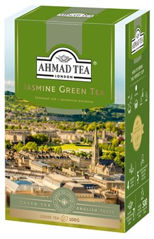 """Чай """"Ahmad Tea"""" Зелёный чай с жасмином, листовой, 100г - фото 6442"""