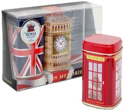 """Чай """"Ahmad Tea"""", Набор """"Воспоминания о Лондоне"""", листовой чай, 3 вкуса в металлических банках, 2х50г и 40г - фото 6466"""