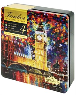 """Чай """"Ahmad Tea"""", Набор """"Бесконечность"""", пакетики в конвертах, в металлической коробке, 4 вкуса, 32х2г - фото 6475"""