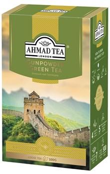 """Чай """"Ahmad Tea"""", Чай Ганпаудер, зелёный, листовой, в картонной коробке, 100г - фото 6624"""
