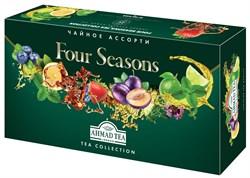 """""""Чайное Ассорти Ahmad Tea Four Seasons"""" набор, пакетики в конвертах из фольги, 15 вкусов, (90 пакетиков) в """"весеннем"""" дизайне - фото 6645"""