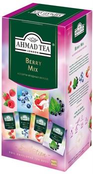 """Чайное ассорти """"Ahmad Tea"""" Ягодный Микс, пакетики в индивидуальных конвертах, 4 вкуса (24 пакетика) - фото 6697"""
