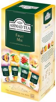 """Чайное ассорти """"Ahmad Tea"""" Фруктовый Микс, пакетики в индивидуальных конвертах, 4 вкуса (24 пакетика) - фото 6701"""
