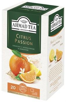 """Травяной чай """"Ahmad Tea"""" с апельсином и лимоном """"Цитрус пэйшн"""", в пакетиках в конвертах из фольги 20х2г - фото 7004"""