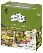 """Чай """"Ahmad Tea"""" Зелёный чай с жасмином, в пакетиках с ярлычками в конвертах из фольги,100х2г + ложка в подарок"""