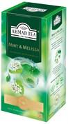 """Чай """"Ahmad Tea"""", Чай Мята-Мелиса, зёленый, в пакетиках с ярлычками в конвертах, 25х1,8гр"""