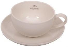 """Пара чайная """"Ahmad Tea"""", белая, керамическая, 290 мл"""